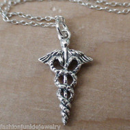 Caduceus Necklace - 925 Sterling Silver