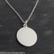 Blank Round Engravable Pendant Necklace - 925 Sterling Silver