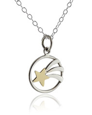Bronze Shooting Star Pendant Necklace - 925 Sterling Silver