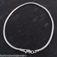 "8"" Sterling Silver 2.5mm Snake Chain Bracelet"