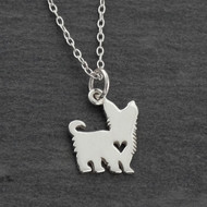 Yorkshire Terrier Dog with Heart Cutout Necklace - Sterling Silver