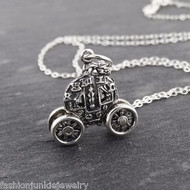 3D Cinderella Carriage Charm Necklace - Sterling Silver