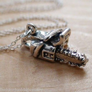 Chainsaw 3D Charm Necklace - 925 Sterling Silver
