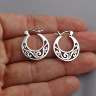 Filigree Hoop Earrings - 925 Sterling Silver