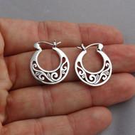 Filigree Hoop Earrings - 925 Sterling Silver