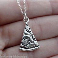 Pizza Slice Necklace - 925 Sterling Silver