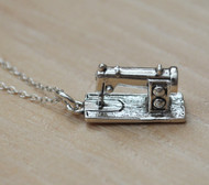 Sewing Machine Charm Necklace - 925 Sterling Silver