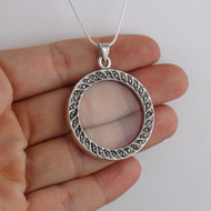 "Marcasite 7x Magnifying Glass Pendant Necklace - 925 Sterling Silver - 24"" Chain"
