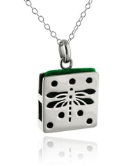 Square Dragonfly Aromatherapy Necklace - 925 Sterling Silver
