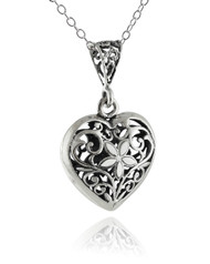 Flower Heart 3D Pendant Necklace - 925 Sterling Silver