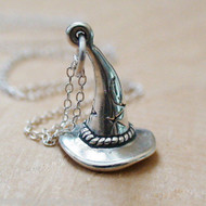 Witch Hat Charm Necklace - 925 Sterling Silver