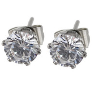 6mm Round CZ Stud Earrings -  Cubic Zirconia, Stainless Steel Posts