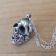 Skull Necklace - 925 Sterling Silver, Movable Jaw