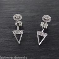 Triangle Ear Jacket Earrings Round CZ - 925 Sterling Silver