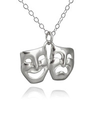 Comedy Tragedy Pendant Necklace - 925 Sterling Silver