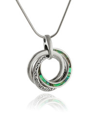 Abalone Three Circles Pendant Necklace - 925 Sterling Silver