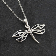 Dragonfly Pendant Necklace - 925 Sterling Silver