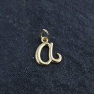Tiny Initial Letter A Pendant - 10K Solid Yellow Gold