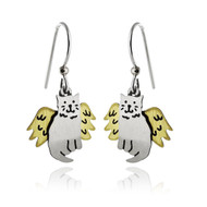 Angel Cat Earrings - 925 Sterling Silver Ear Wires