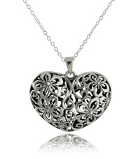3D Flower Heart Necklace - 925 Sterling Silver