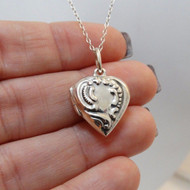 Stamped Heart Photo Locket - 925 Sterling Silver