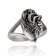 Anatomical Heart Poison Ring - 925 Sterling Silver