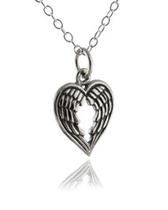 Heart Shaped Angel Wings Necklace - 925 Sterling Silver