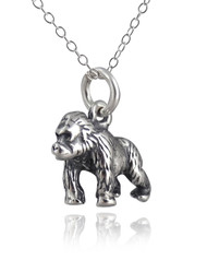 Gorilla 3D Pendant Necklace - 925 Sterling Silver