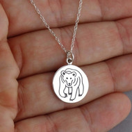 Etched Bear Charm Necklace - 925 Sterling Silver