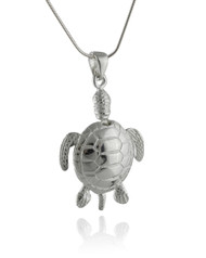 Sea Turtle Pendant Necklace - 925 Sterling Silver, Large