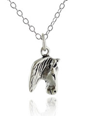 Horse Head Profile Necklace - 925 Sterling Silver