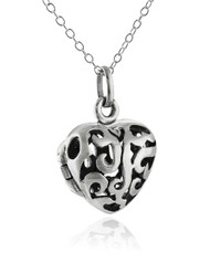 3D Heart Locket Necklace - 925 Sterling Silver