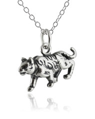 Tiger Necklace - 925 Sterling Silver - 3D Charm