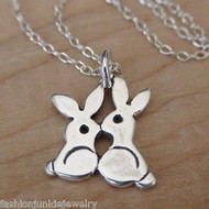 Tiny Kissing Bunnies Necklace - 925 Sterling Silver