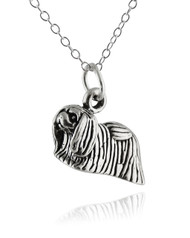 Pekingese Dog Necklace - 925 Sterling Silver