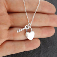 Heart Padlock and Key Pendant Necklace - 925 Sterling Silver