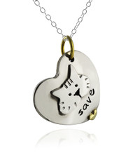 Save the Cats Heart Pendant Necklace - Alpaca Silver and Brass