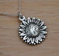Sterling Silver Sunflower Charm Necklace