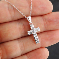 Sparkling CZ Cross Necklace - 925 Sterling Silver