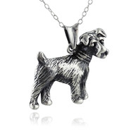 Terrier Dog Necklace - 925 Sterling Silver