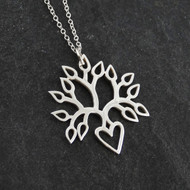 Blooming Heart Tree of Life Necklace - 925 Sterling Silver