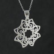 Filigree Scroll Flower Necklace - 925 Sterling Silver