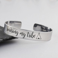 Raising My Tribe Cuff Bracelet - Stainless Steel Cuff