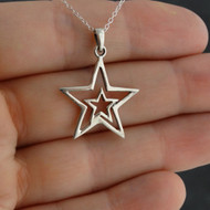 Double Star Necklace - 925 Sterling Silver