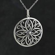 Filigree Flower Necklace - 925 Sterling Silver