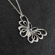 Butterfly Outline Necklace - 925 Sterling Silver