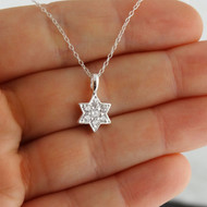 CZ Star of David Necklace - 925 Sterling Silver
