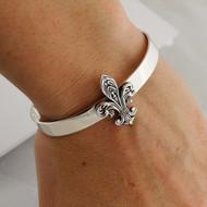 Fleur-de-lis Cuff Bracelet - 925 Sterling Silver