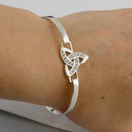 Celtic Trinity Knot CZ Bangle Bracelet - 925 Sterling Silver