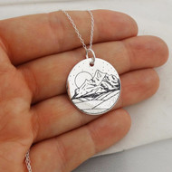 Engraved Mountain Range Pendant Necklace - 925 Sterling Silver